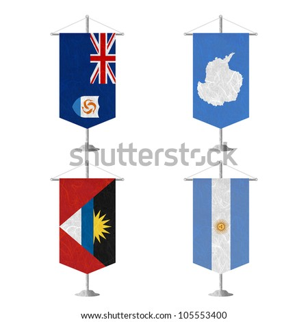 Nation Flag. Table flag recycled paper on white background. ( Anguilla , Antarctica , Antigua and Barbuda , Argentina ) - stock photo