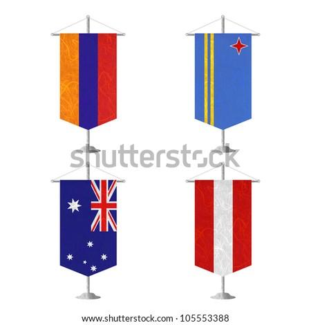 Nation Flag. Table flag recycled paper on white background. ( Armenia , Aruba , Australia , Austria ) - stock photo