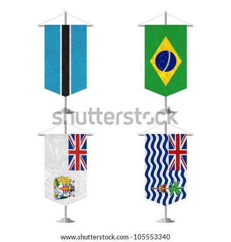 Nation Flag. Table flag recycled paper on white background.  ( Botswana , Brazil , British Antarctic Territory , British Indian Ocean Territory ) - stock photo