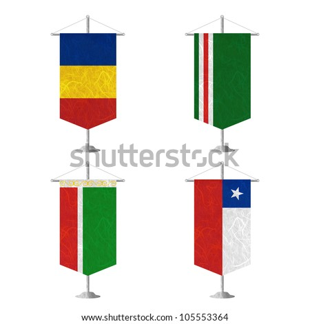 Nation Flag. Table flag recycled paper on white background. ( Chad , Chechen Republic of Ichkeria , Chechen Republic , Chile ) - stock photo