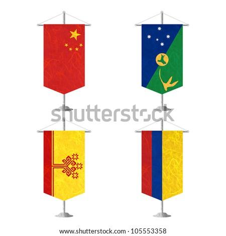 Nation Flag. Table flag recycled paper on white background. ( China , Christmas Island , Chuvashia , Colombia ) - stock photo