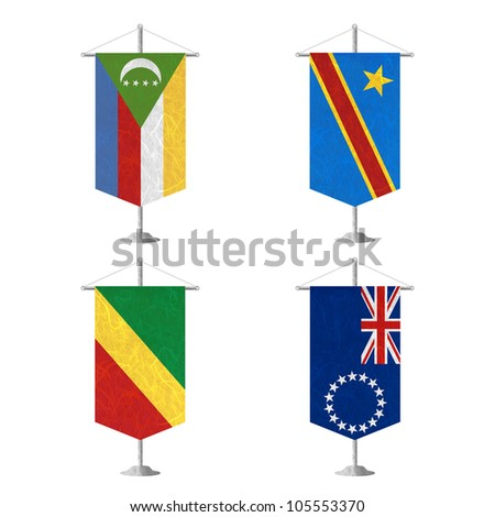 Nation Flag. Table flag recycled paper on white background. ( Comoros , Congo Democratic Republic , Congo Republic , Cook Islands) - stock photo