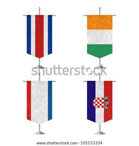 Nation Flag. Table flag recycled paper on white background. ( CostaRica, Cote dlvoire , Crimea , Croatia ) - stock photo