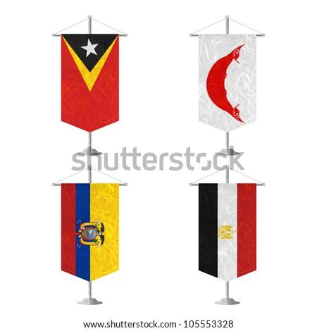 Nation Flag. Table flag recycled paper on white background. ( East Timor , Easter Island Rapa nui , Ecuador , Egypt ) - stock photo
