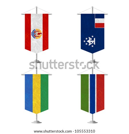 Nation Flag. Table flag recycled paper on white background. ( French Polynesia , French Southern and Antarctic Lands , Gabon , Gambia ) - stock photo