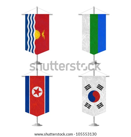 Nation Flag. Table flag recycled paper on white background. ( Kiribati , Komi , Korea North , Korea South ) - stock photo