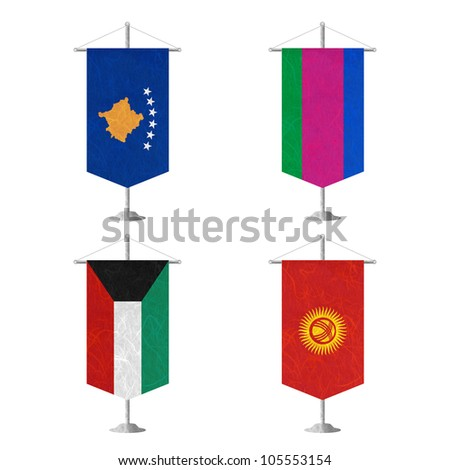 Nation Flag. Table flag recycled paper on white background. ( Kosovo, Kuban Peoples Republic , Kuwait , Kyrgyztan ) - stock photo