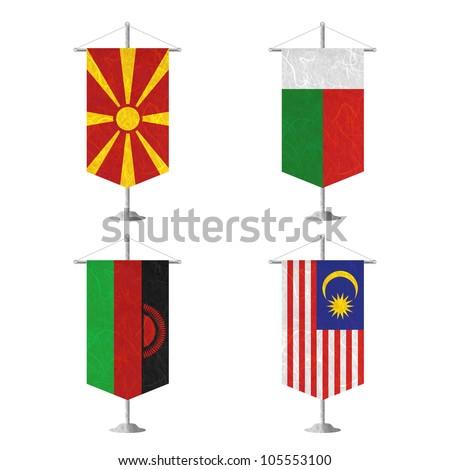 Nation Flag. Table flag recycled paper on white background. ( Macedonia , Madagascar , Malawi , Malaysia ) - stock photo