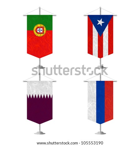 Nation Flag. Table flag recycled paper on white background. ( Portugal , Puerto Rico , Qatar , Republika Srpska ) - stock photo