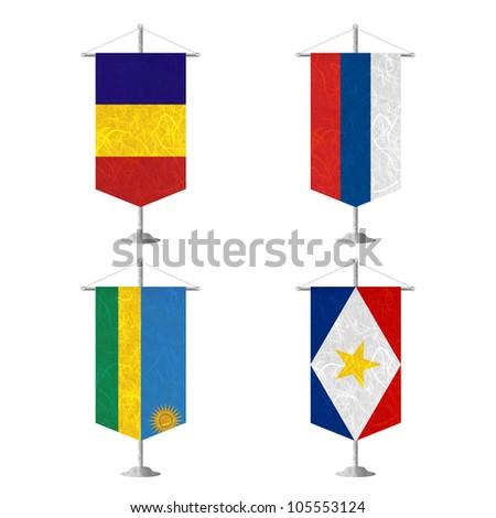 Nation Flag. Table flag recycled paper on white background. ( Romania , Russia , Rwanda , Saba ) - stock photo