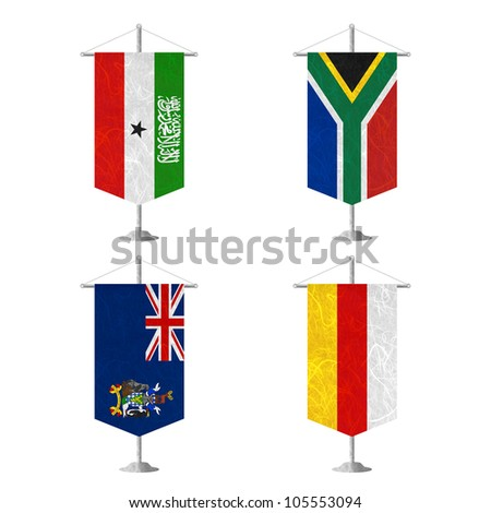 Nation Flag. Table flag recycled paper on white background. ( Somaliland , South Africa , South Georgia and the South Sandwich Islands , South Ossetia ) - stock photo