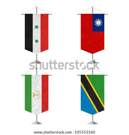 Nation Flag. Table flag recycled paper on white background. ( Syria , Taiwan, Tajikistan , Tanzania) - stock photo