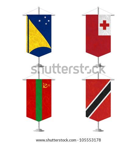 Nation Flag. Table flag recycled paper on white background. ( Tokelau , Tonga , Transnistria , Trinidad and Tobago ) - stock photo
