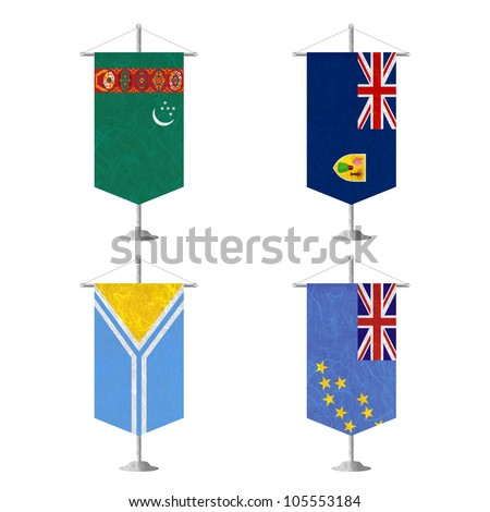 Nation Flag. Table flag recycled paper on white background. ( Turkmenistan , Turks and Caicos Islands , Tuva , Tuvalu ) - stock photo
