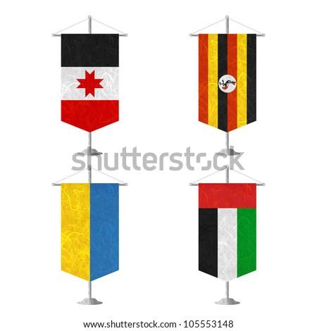 Nation Flag. Table flag recycled paper on white background. ( Udmurtia , Uganda , Ukraine , United Arab Emirates ) - stock photo