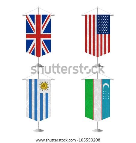 Nation Flag. Table flag recycled paper on white background. ( United Kingdom , United States of America , Uruguay , Uzbekistan ) - stock photo