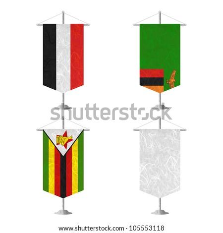 Nation Flag. Table flag recycled paper on white background. ( Yemen, Zambia , Zimbabwe , White Blank ) - stock photo