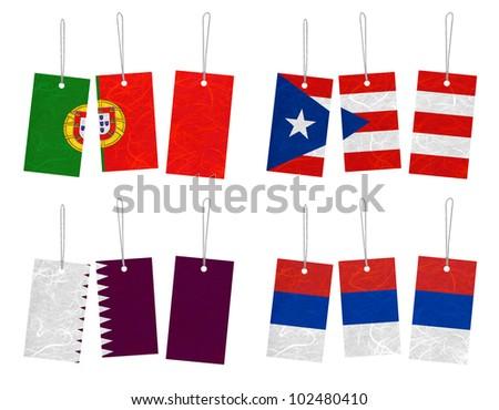 Nation Flag. Tag recycled paper on white background. ( Portugal , Puerto Rico , Qatar , Republika Srpska ) - stock photo