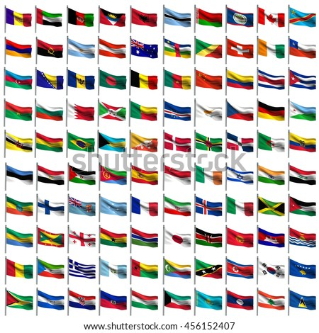 nation flags collage on white background 3d rendering