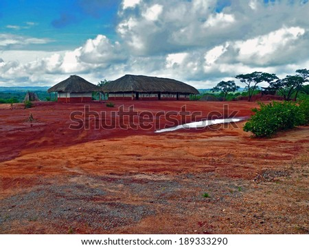 National African village. Africa, Mozambique, Naiopue. - stock photo