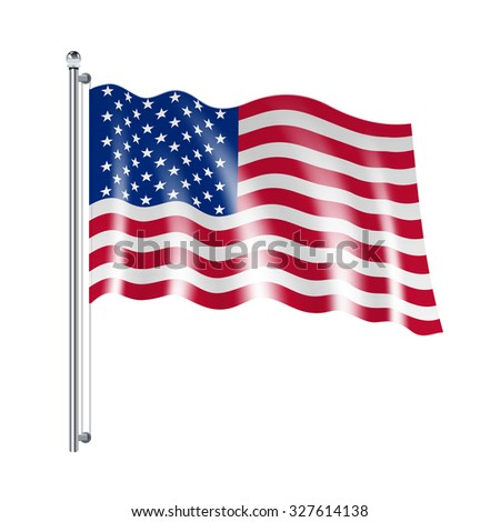 National american united states flag flowing on white background  illustration