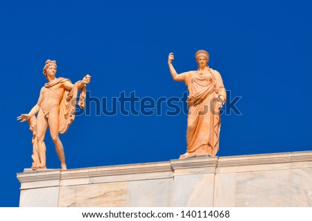 National Archaeological Museum in Athens , Greece . Sculptures on the roof-top above the entrance - stock photo