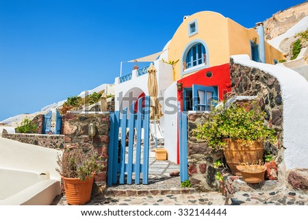 National architecture in Oia town, Santorini island, Greece. - stock photo