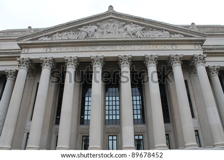 National Archives Building, facade in Washington DC, USA