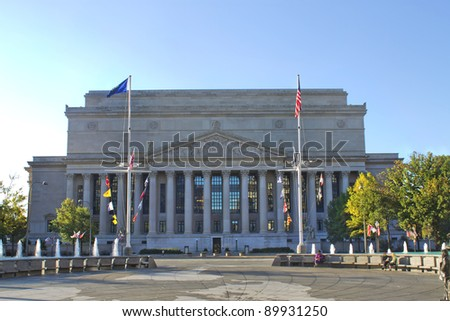 National Archives Building in Washington DC. - stock photo