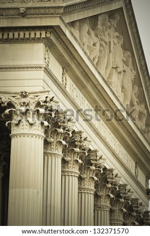 National Archives Detail, Washington DC - stock photo