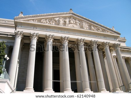 National Archives facade in Washington DC, USA