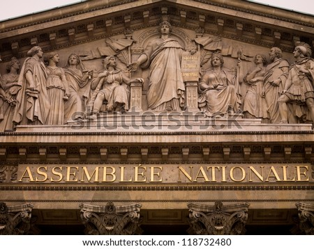 National Assembly Parliament Buildings in Paris France
