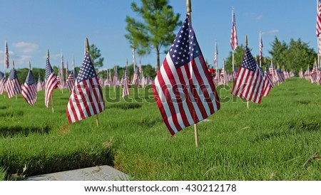 National Cemetery on Memorial Day Holiday - stock photo