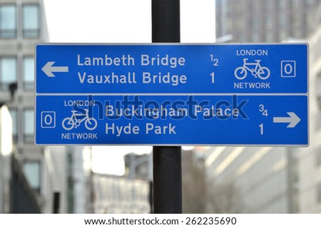 National cycle network sign London - stock photo