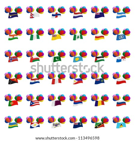 National flag balloon on the wind. Mulberry paper on white background. (Balloon set) - stock photo