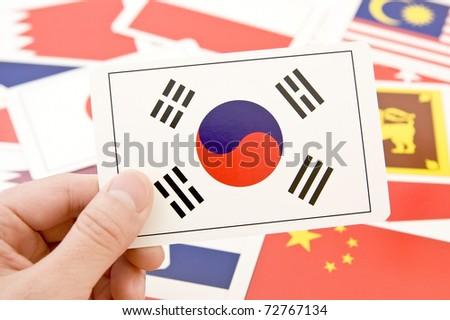 national flag cards, south korea - stock photo