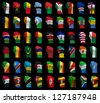 National flag fists of all Africa countries on a black background - stock photo