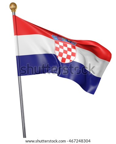 National flag for country of Croatia isolated on white background, 3D rendering