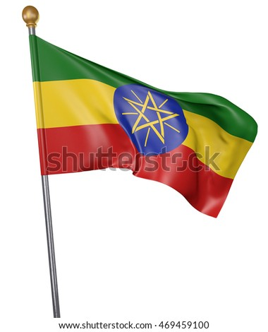 National flag for country of Ethiopia isolated on white background, 3D rendering