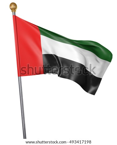 National flag for country of United Arab Emirates isolated on white background, 3D rendering