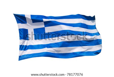 National flag Greece, isolated by clipping path on white background