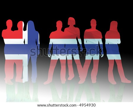 national flag norway of people silhouettes