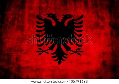 National Flag of Albania. The flag was adopted in 1912 when Albania gained independence from the Ottoman Empire.  The flag consists of a black double-headed eagle on a red background
