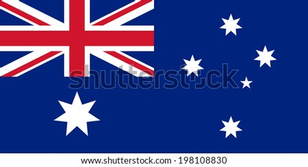 National flag of Australia, officially the Commonwealth of Australia. This Authentic version is to scale 1:2 and color accurate as possible. (large file size) - stock photo