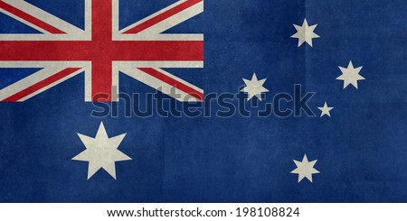 National flag of Australia, officially the Commonwealth of Australia. This textured version is to scale 1:2 - stock photo