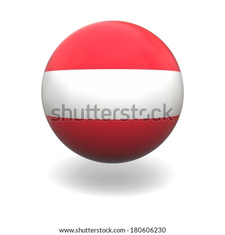 National flag of Austria on sphere isolated on white background