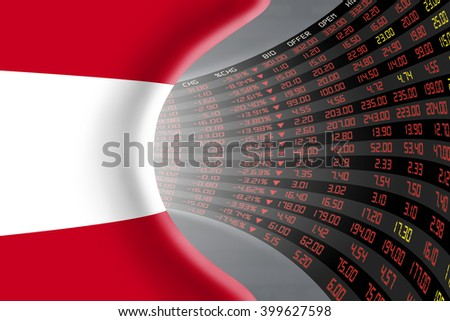 National flag of Austria with a large display of daily stock market price and quotations during depressed economic period. The fate and mystery of Vienna stock market, tunnel / corridor concept. - stock photo