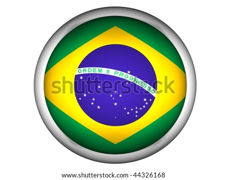 National Flag of Brazil | Button Style | - stock photo