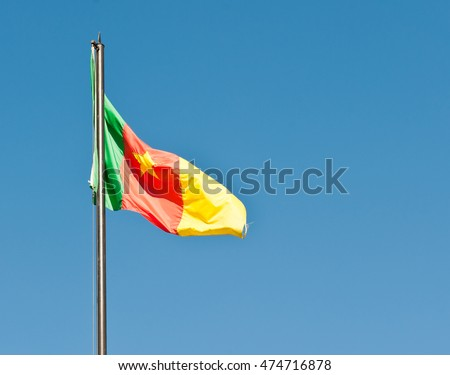 National flag of Cameroon against blue sky