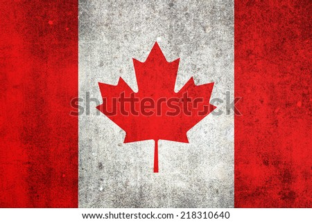 National flag of Canada. Grungy effect. - stock photo